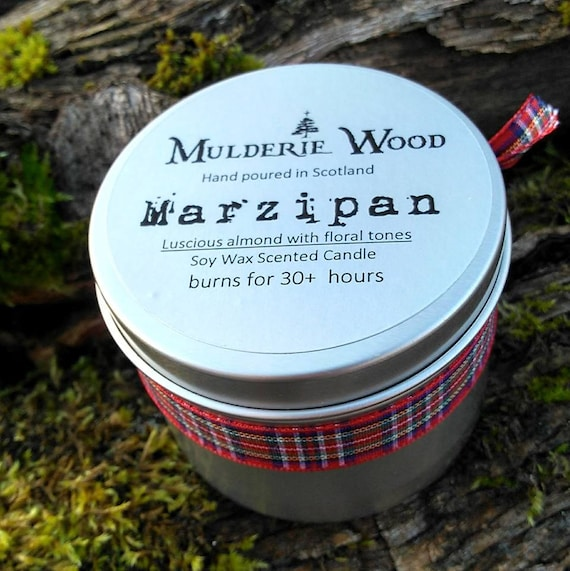 Handmade Marzipan Sweet Almond Scented Soy Wax Tin Candle 30+ hour burn