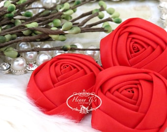 Sierra: 4pcs RED - 50mm Adorable Rolled Satin Rose Rosettes Fabric flowers. Hair Accessories. Satin Rose Rosette Flowers