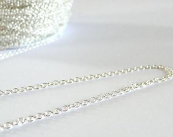 Chain fine brass chain 1 meter - 1.5 mm silver color