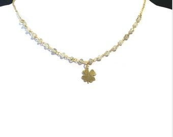 Choker necklace in vermeil (sterling silver 925 gold plated) and prehnite Rosary chain