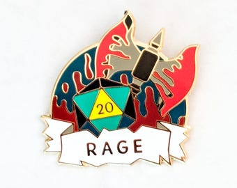 Rage Dungeons and Dragons Pin, Barbarian Dnd Enamel Pin, d20 Pin, Tabletop RPG pin, Dungeon Master Gift, D&D pin, Dnd Dice pin