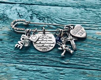 Something Old, Something New, Something Borrowed, Something Blue, Silver Kilt Pin Brooch, Silver Brooch, silver kilt pin, Gift for the Bride