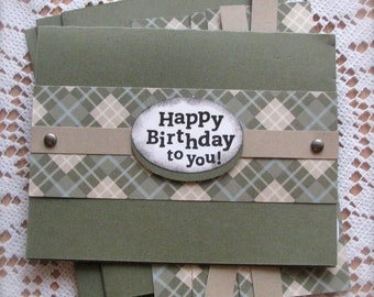 DIY ~ Any Occasion ~ Masculine ~ Plaid ~ Greeting Card Kit  - Set of 5 - Shipping Included