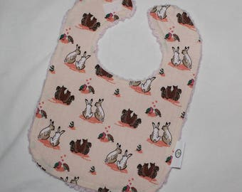 Cream Woodland Animal Chenille Boutique Bib