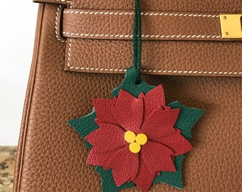 "Double-Sided Leather ""Snap"" Poinsettia Bagcharm"