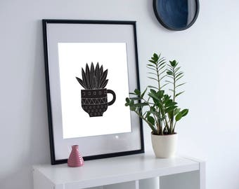 Black and White Printable Cactus, Kitchen Gift, Succulents Art, Botanical Prints, Cactus Print Art, Kitchen Cactus, Housewarming Cactus Gift
