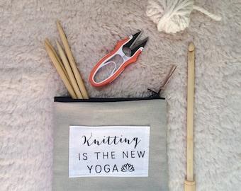 Trousse pochette Notion tricot Crochet sac drôle sac tricot accessoires pochette cadeau pour tricoteuses artisanat pochette zippée à tricoter