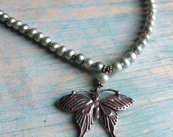Butterfly Necklace Pearls & Sterling Silver