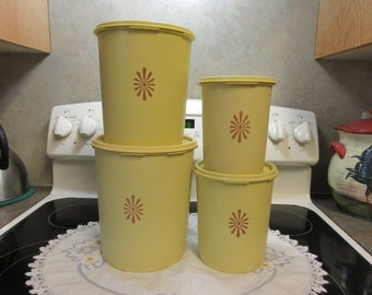 Set Of Four Harvest Yellow Tupperware Canisters 1970