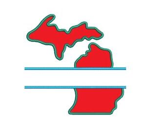 Michigan Applique Split Machine Embroidery Digitized State Design Pattern - Instant Download