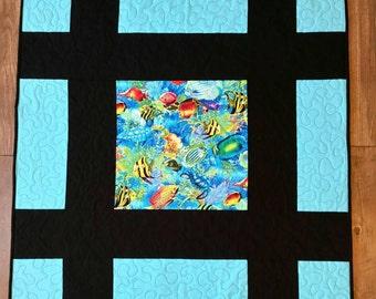 Baby quilt, lap quilt, tropical fish quilt, aquarium quilt, ocean quilt