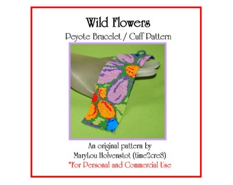 Peyote Bracelet Pattern ... WILD FLOWERS ... Floral . Colorful . Multicolor . Daisies . Sunflowers . Spring . Feminine . 3 for 2