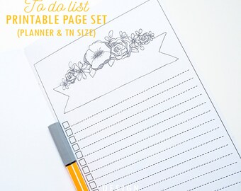 Printable TO DO page coloring Flower banner