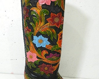 Hand tooled cowboy boot 14 to 18 inch high made to order any style from gallery or send picture and will replicate them.