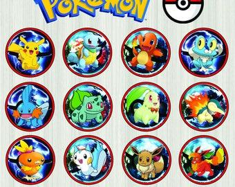pokemon cupcake toppers, pokemon party, pokemon birthday, pikachu, cupcake toppers, pokemon go, pokeball, instant download,pokemon printable