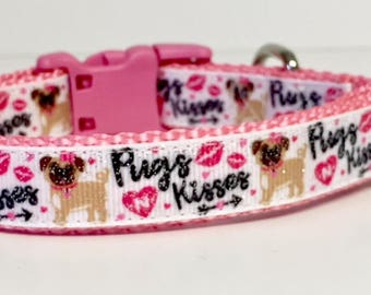 "3/4"" Valentine's Day Dog Collar, Pugs & Kisses, Valentines Day, Gift, Pet Gift, Dog Gift, Seasonal, Kisses, Lips, Hearts, Cupid, Pug, Cute"