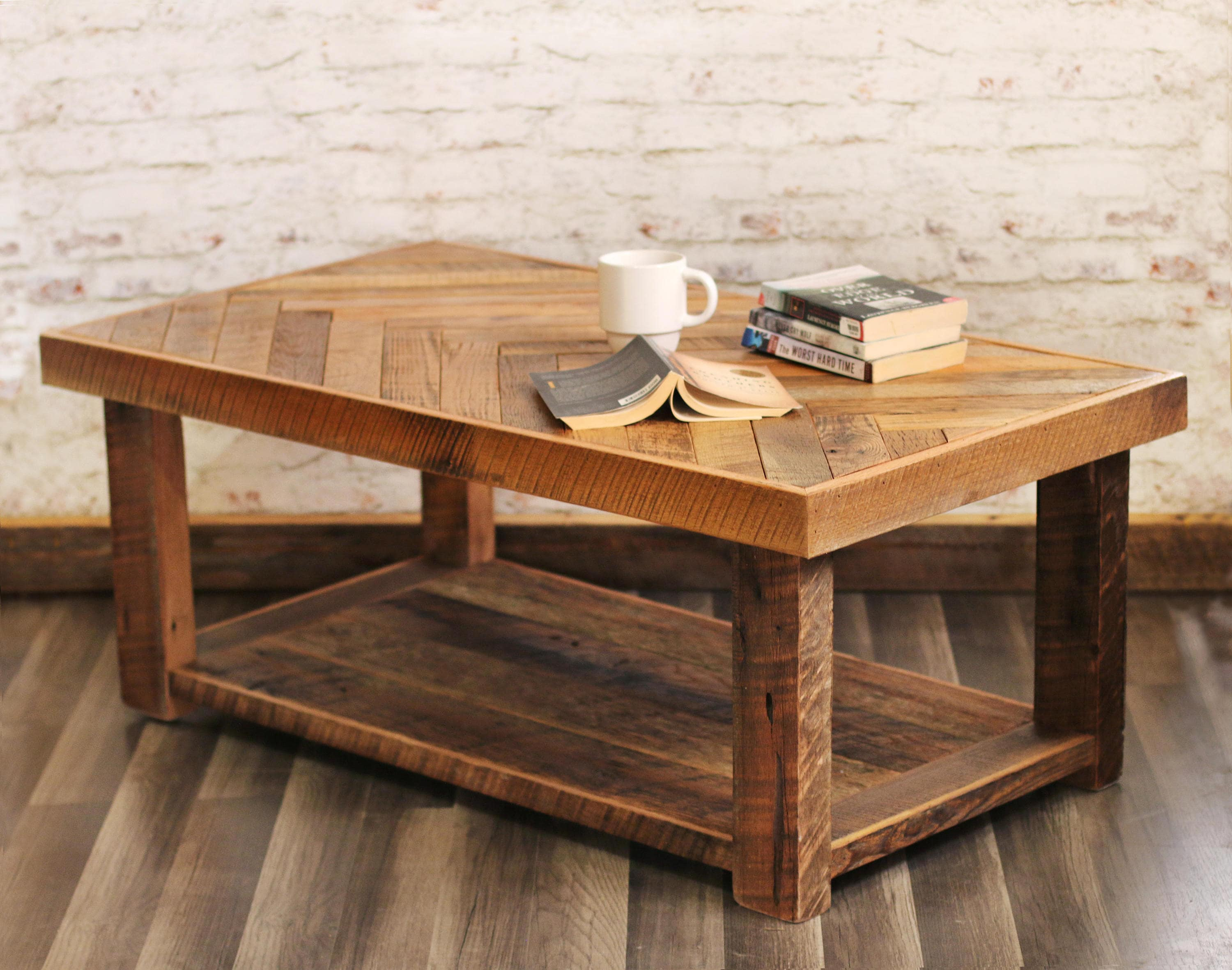 Barn wood coffee table with Bottom Shelf Herringbone table