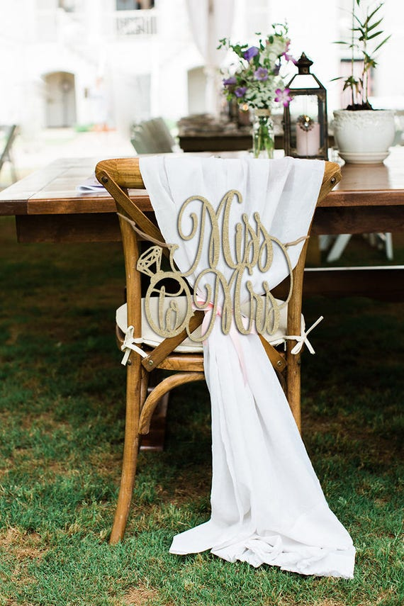 Miss to Mrs Chair Sign, Bridal Shower Sign, Bridal Shower Gift, Bridal Shower Chair Sign, Gold Chair Sign, Wooden Sign, Rose Gold Chair Sign