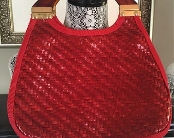 Vintage 1960's purse / red purse / Made in Italy / wicker purse / straw purse