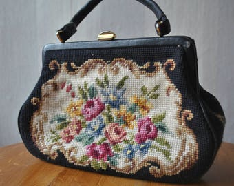 Black floral needlepoint purse / 1960s purse / 60s handbag