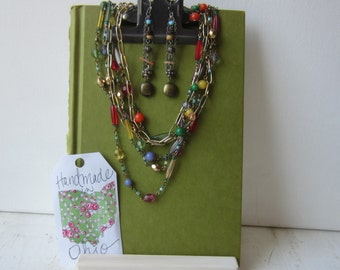 One Clipboard Necklace / Earring Display - Moss Green - Recycled Display - Ready to Ship