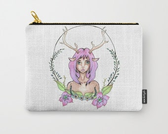 Make-up Bag-Small-Medium-Large Pouch-Carry All Pouch- Toiletry Bag - Change Purse - Deer Girl Pouch Bag - Organizing Bag - Made to Order