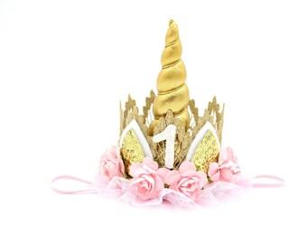 Birthday Unicorn flower lace crown headband gold + pink || Unicrown