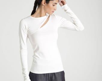 Party Top / Women's Blouse / Long Sleeve Top / Designer Blouse / Designer Top / Unique Fashion Top /  Marcellamoda - MB0641