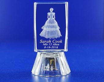 Quinceañera (12 PCS) Mis XV Años Mis Quince Años Mis 15 Años Sweet 16 Personalize Custom Laser Etched Engraving Crystal Glass Favors 004L