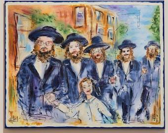 Passover Gift Jewish Wall Art Jewish Men Orthodox Chabad Tradition Gift Jewish Tradition Jewish Painting Jewish Gift Pesach Judaica Wall Art