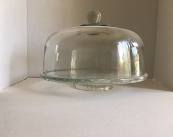 Vintage Clear Glass Low Pedestal Cake Stand with Cover