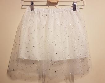White Sparkly Tulle Skirt  - Age 6-7