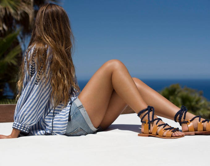 Nautical navy rope lace up sandals