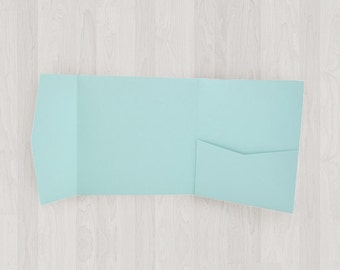 10 Square Pocket Enclosures - Light Blue - DIY Invitations - Invitation Enclosures for Weddings and Other Events