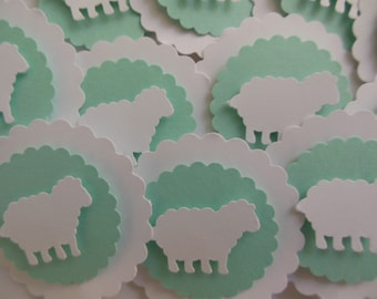Sheep Cupcake Toppers - Mint Green and White - Gender Neutral - Baby Shower Decorations - Baptisms - Birthday Decorations