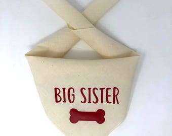Dog Pregnancy Announcement Bandana, Big Sister Dog Bandana, Big Sister To Be Pregnancy Announcement, Big Sister in Training, Big Brother