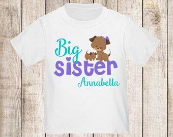 Big Sister Puppy Dog Personalized T Shirt Big Sister tshirt