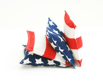 Red, White, and Blue Patriotic 4 Inch Bean Bags - Washable Fabric Beanbag - Kids Toss Game - Summer Game - 4th of July - Stars & Stripes