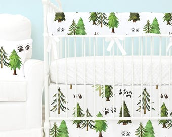 Woodland Trees Bumperless Baby Bedding | Green, Black, Brown, Forest Trees, Woodland, Teething Guard Boy Crib Set | Woodland Trees Crib Set