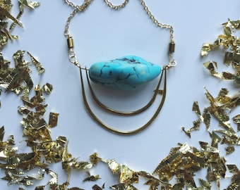 turquoise chunk necklace/ turquoise necklace/ hammered brass necklace/ turquoise nugget necklace/ minimal turquoise and gold necklace