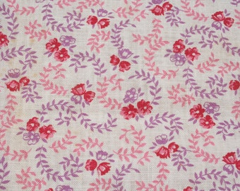 Vintage Feedsack Flour Sack Fabric Pink Purple Calico Floral  37 x 44 inches