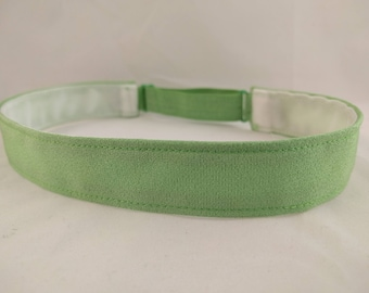Adjustable non-slip Headband hairband made with vintage silk kimono fabric - Spring green color