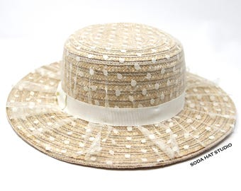 Wheat Straw Boater with Polka Dot Veil