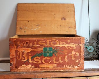 Primitive wooden box with hinges! Antique Hustons Biscuit Crate, Advertising Crate,  Farmhouse Storage crate, Primitive Storage