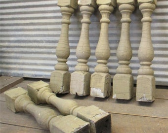 7 Balusters Cream Wood Architectural Salvage Spindles Porch Post House Trim c, Vintage Wood Spindles, Wooden Balusters, Rustic Farmhouse,