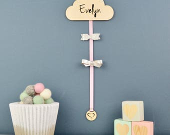Hair Bow Hanger Wood  - Hair Bow - Holder - Personalised - Hair Clips - Cloud - Hair Accessory Storage - Hair Clips -