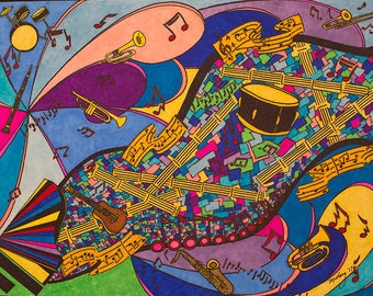 Abstract..Music Art..Ink Drawing..Free Shipping..Original..Color Ink..Wall Art..Music..Instruments..Guitar..Drums..Notes..Jazz