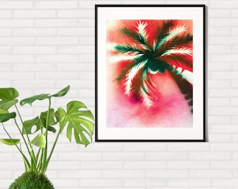 SALE !! Printable Palm Art, Palm Tree Print, Spray Paint Art, Tropical Decor, Beach Wall Art, Palm Tree Art, Tropical Art, Instant Download
