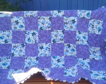 Blue Gem Quilt - Lilac Butterfly Reversible