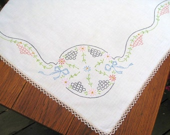 Vintage Tablecloth, Linen Tablecloth, Square Table Topper, Vintage Table Linen with Crochet Trim, Embroidered Tablecloth, Blue Pink Green